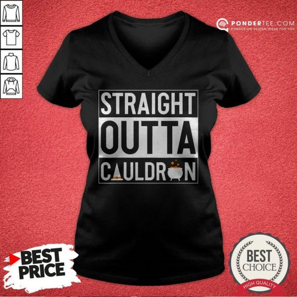 Straight Outta Cauldron Brew Witch Hat Halloween Funny Pun V-neck - Desisn By Warmtees.com