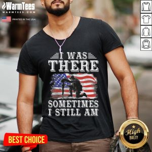 Top I Was There Top I Was There Sometimes I Still Am American Flag V-neck - Desisn By Warmtees.com