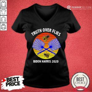 Truth Over Flies Biden Harris 2020 Vintage V-neck - Desisn By Warmtees.com