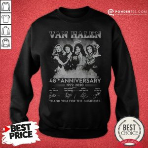 Van Halen 48th Anniversary 1972-2020 Thank You For The Memories Sweatshirt - Desisn By Warmtees.com