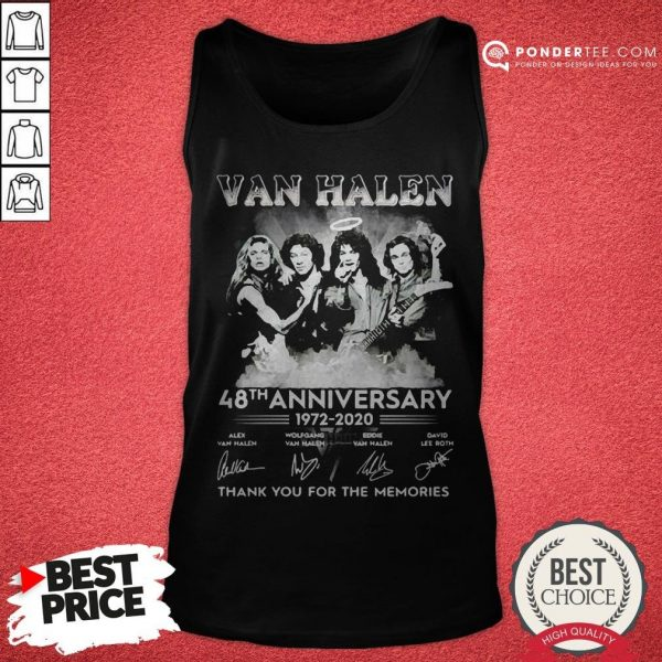 Van Halen 48th Anniversary 1972-2020 Thank You For The Memories Tank Top - Desisn By Warmtees.com