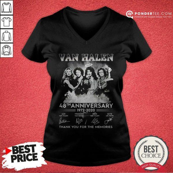 Van Halen 48th Anniversary 1972-2020 Thank You For The Memories V-neck - Desisn By Warmtees.com