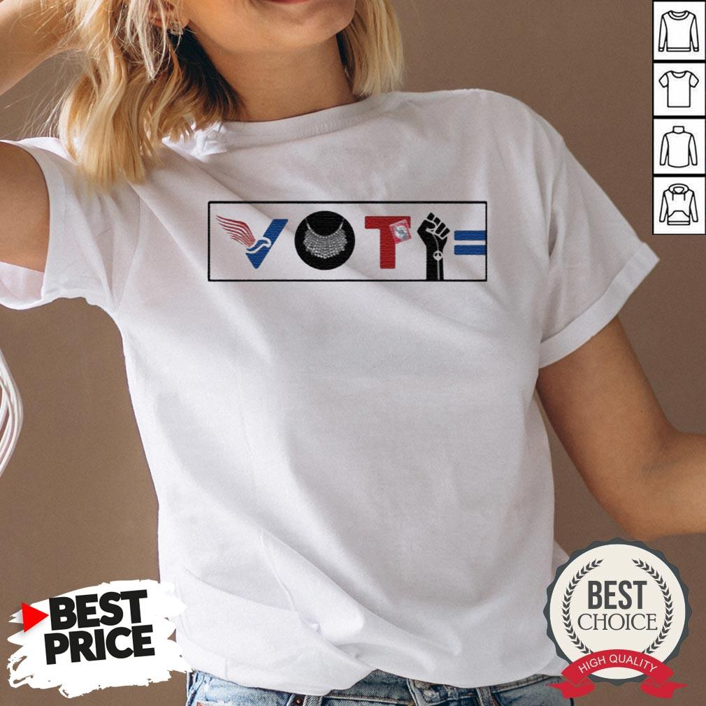 Vote For Liberty RBG Peace BLM Equality V-neck - Desisn By Warmtees.com