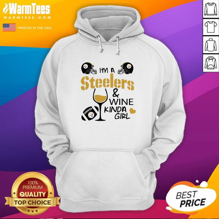 Attractive I'm A Pittsburgh Steelers And Wine Kinda Girl Heart Hoodie - Design By Warmtees.com