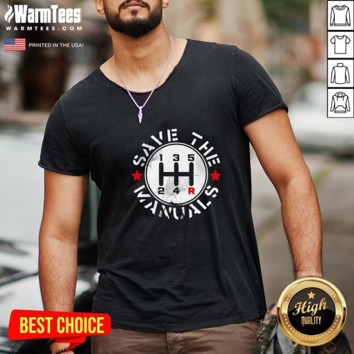 Attractive Save The Manuals Car V-neck - Design By Warmtees.com