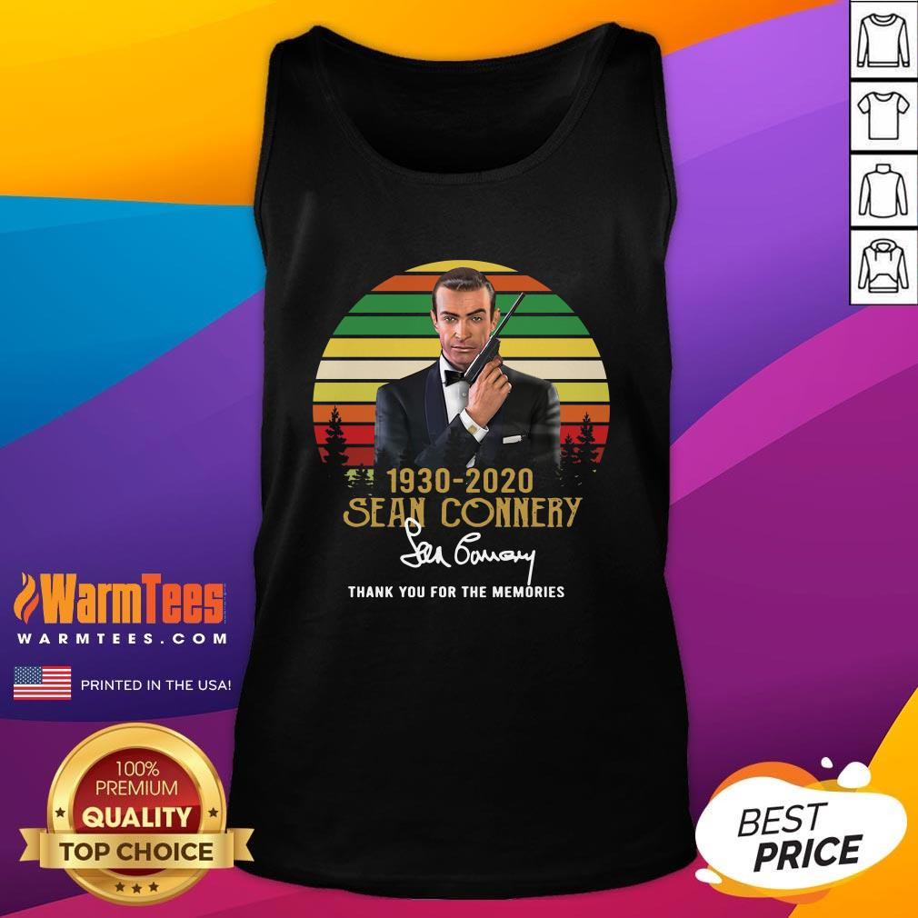Beautiful Sean Connery 1930 2020 Thank You For The Memories Signature Tank Top - Design By Warmtees.com