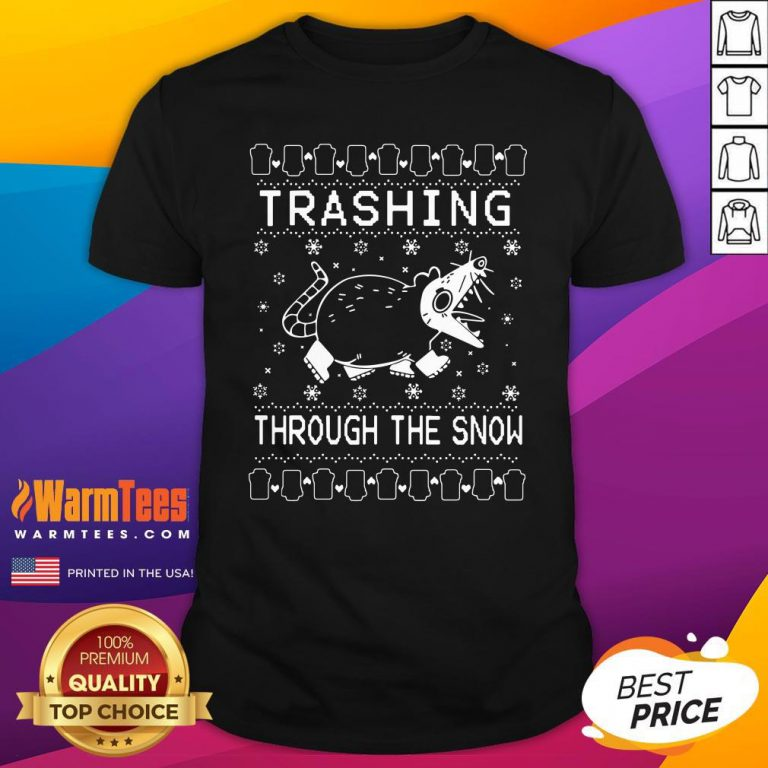 Cool Mouse Trashing Mouse Through The Snow Ugly Christmas Shirt - Design By Warmtees.com