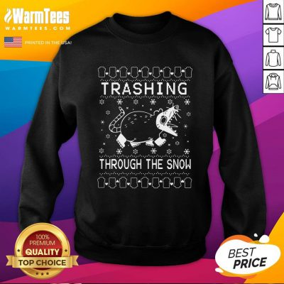 Cool Mouse Trashing Mouse Through The Snow Ugly Christmas Sweatshirt - Design By Warmtees.com