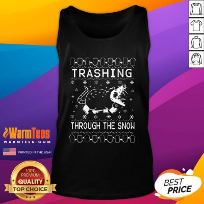 Cool Mouse Trashing Mouse Through The Snow Ugly Christmas Tank Top - Design By Warmtees.com