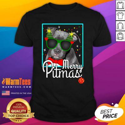 Cool Pitbull Merry Pitmas Shirt - Design By Thelasttees.com