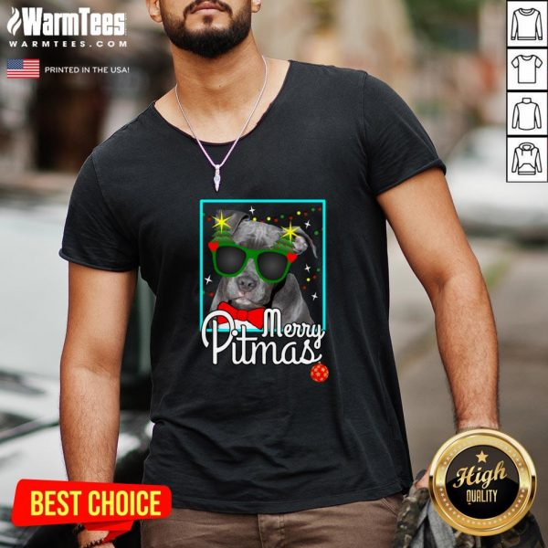 Cool Pitbull Merry Pitmas V-neck - Design By Thelasttees.com