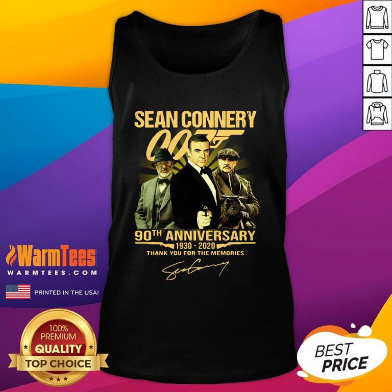 Cool Sean Connery 007 90th Anniversary 1930 2020 Thank You For The Memories Signature Tank Top- Design By Warmtees.com