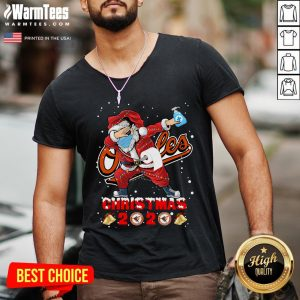Cute Baltimore Orioles Funny Santa Claus Dabbing Christmas 2020 V-neck - Design By Warmtees.com