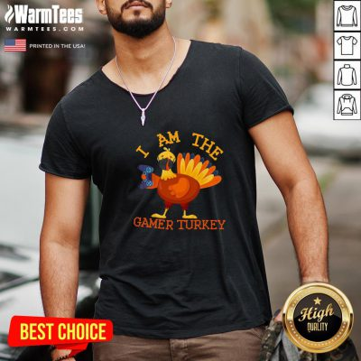 Cute I Am The Happy Thanksgiving Gamer Turkey Mask V-neck - Design By Warmtees.com