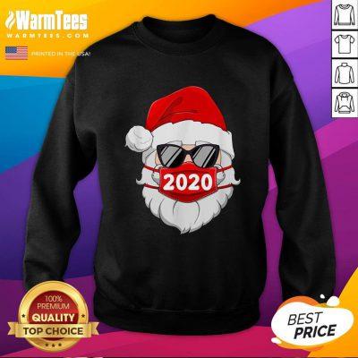 Cute Santa Claus Face Mask Glasses 2020 Sweatshirt - Design By Warmtees.com