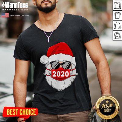 Cute Santa Claus Face Mask Glasses 2020 V-neck - Design By Warmtees.com