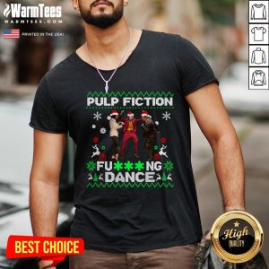 Fantastic Joker Dance With Mia Wallace Vincent Vega Pulp Fiction Christmas V-neck - Design By Warmtees.com