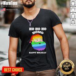 Great LGBT Santa Ho Ho Ho Homo Happy Holiday V-neck - Design By Warmtees.com