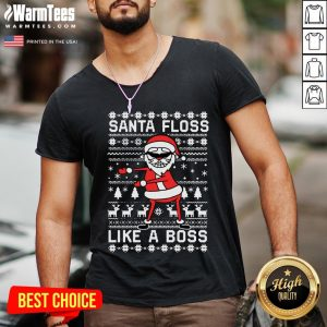 Great Santa Floss Like A Boss Ugly Christmas V-neck - Design By Warmtees.com