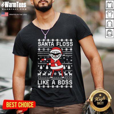 Great Santa Floss Like A Boss Ugly Christmas V-neck - Design By Warmtees.com