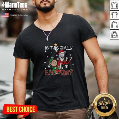 Great Ugly Christmas Rick And Morty Merry Schwiftmas Is This Jolly Enough Sweat V-neck - Design By Warmtees.com