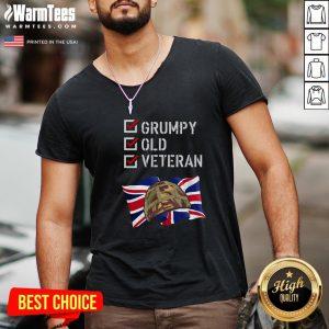 Happy Grumpy Old Veteran V-neck - Design By Warmtees.com