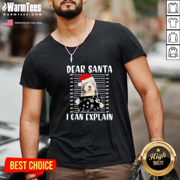 Hot Bearded Collie Dear Santa I Can Explain Christmas Sweater V-neck - Design By Warmtees.com