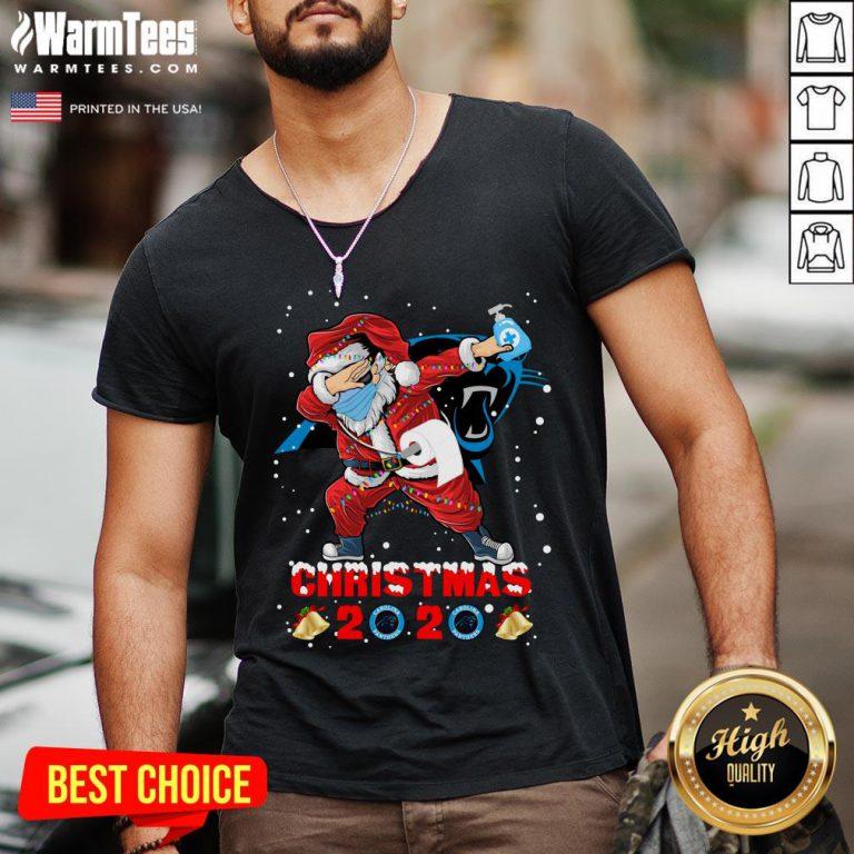 Hot Carolina Panthers Funny Santa Claus Dabbing Christmas 2020 V-neck - Design By Warmtees.com