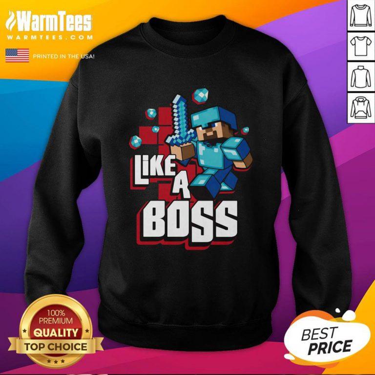 Hot JINX Minecraft Big Boys' Like A Boss Sweatshirt - Design By Warmtees.com