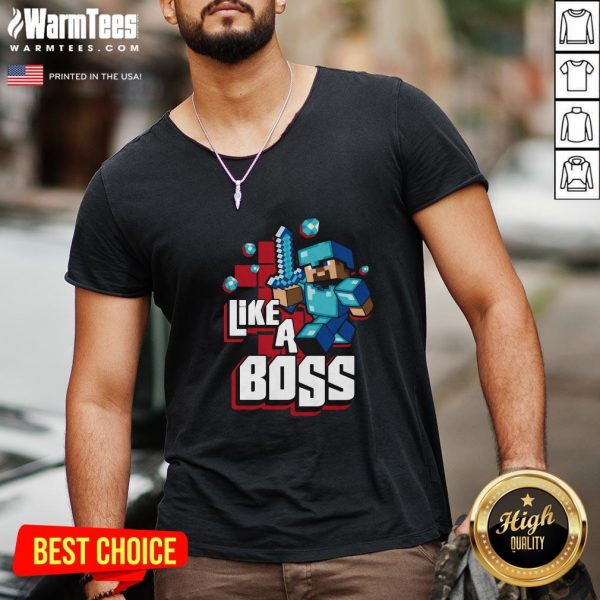Hot JINX Minecraft Big Boys' Like A Boss V-neck- Design By Warmtees.com