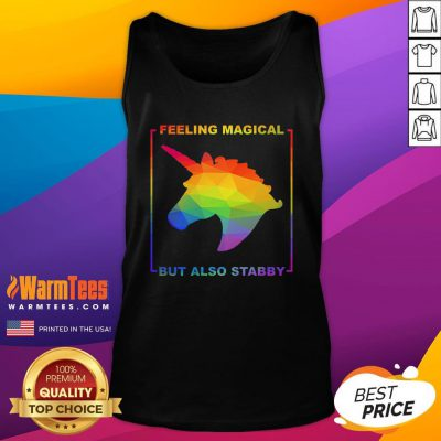 Hot LGBT Unicorn Feeling Magical But Also Stabby Tank Top - Design By Warmtees.com
