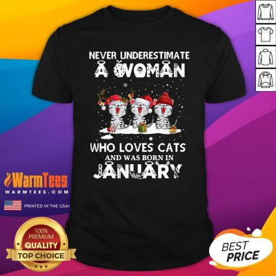 Hot Never Underestimate A Woman Who Loves Cats Santa And Was Born In January Shirt - Design By Warmtees.com