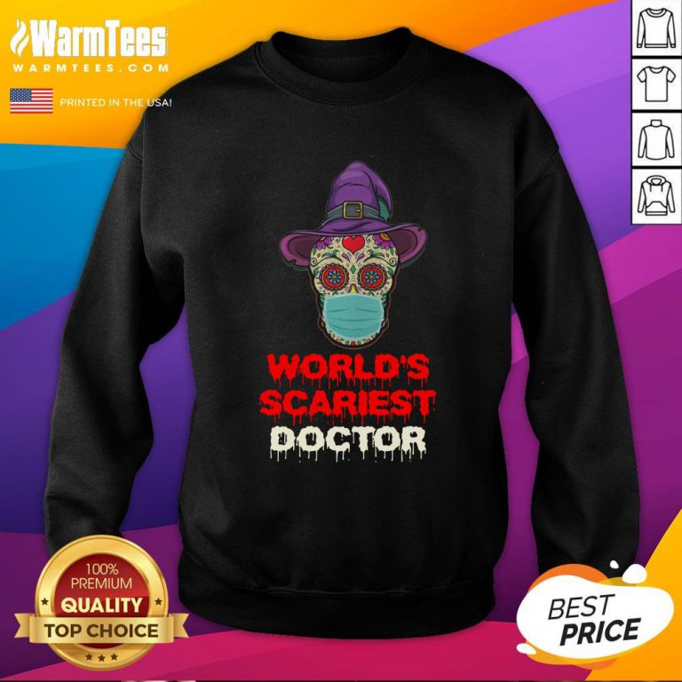 Hot World's Scariest Doctor Skull Tattoos Witch Face Mask Halloween Sweatshirt - Design By Warmtees.com