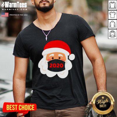 Lovely Santa Claus Face Mask Christmas 2020 V-neck - Design By Warmtees.com