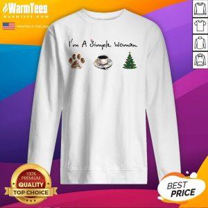 Nice I'm A Simple Woman Dog Paw Coffee And Tree Christmas Sweatshirt - Design By Warmtees.com
