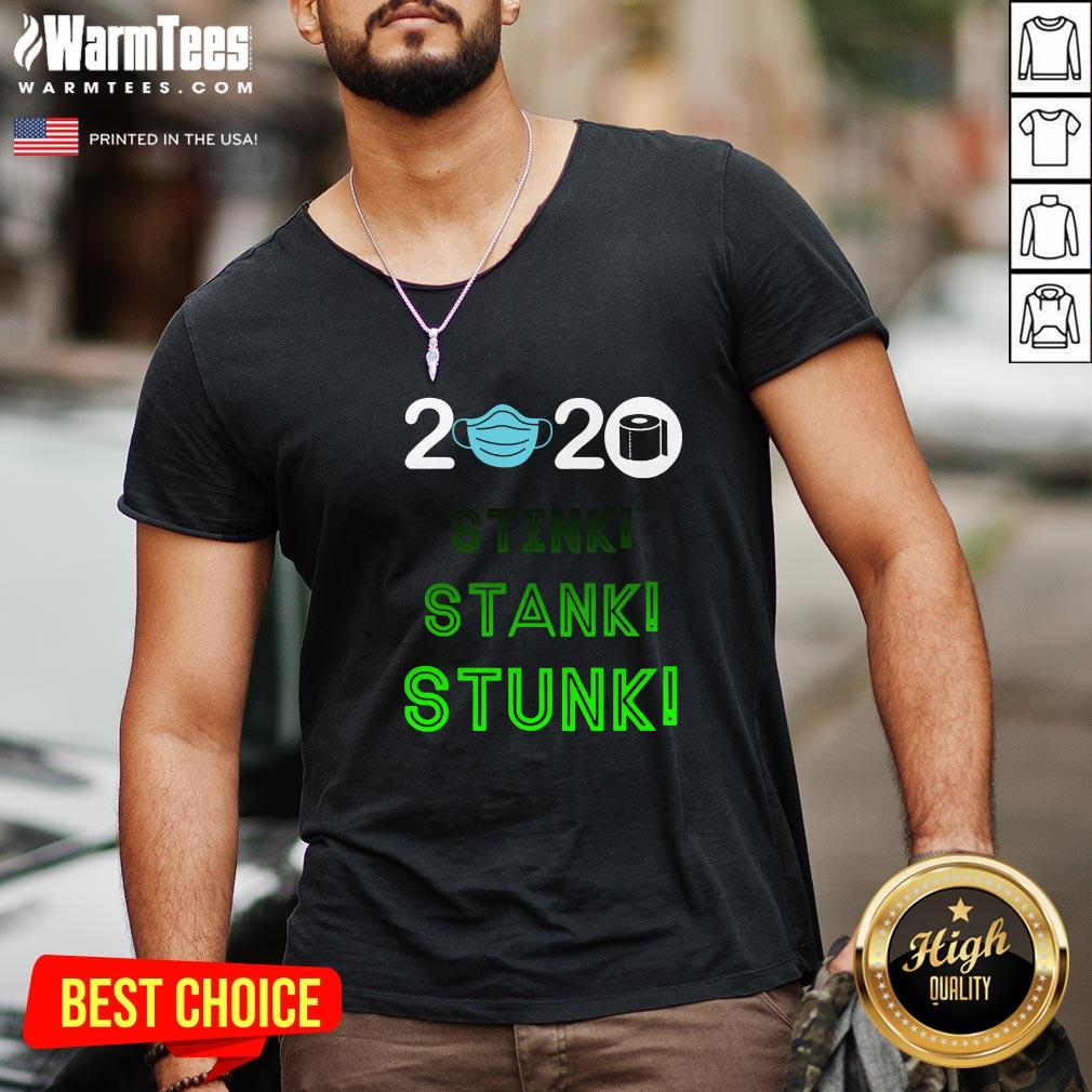 Official 2020 Stink Stank Stunk Mask Toilet Paper V-neck - Design By Warmtees.com