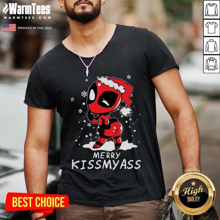 Premium Santa Deadpool Merry Kiss My Ass Christmas V-neck - Design By Warmtees.com