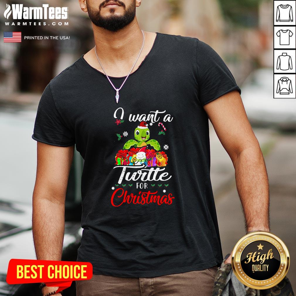 Pretty I Want A Turtle For Christmas V-neck - Design By Thelasttees.com