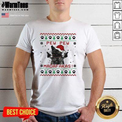 Pretty Santa Black Cat Pew Pew Madafakas Ugly Christmas Shirt - Design By Warmtees.com