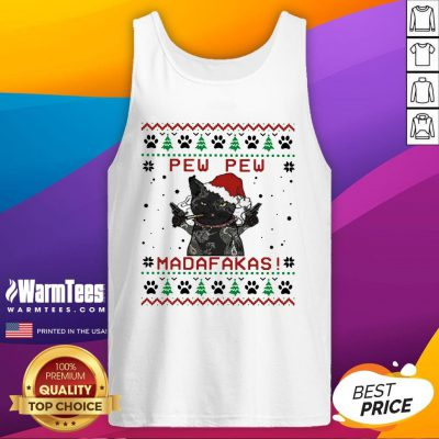 Pretty Santa Black Cat Pew Pew Madafakas Ugly Christmas Tank Top - Design By Warmtees.com