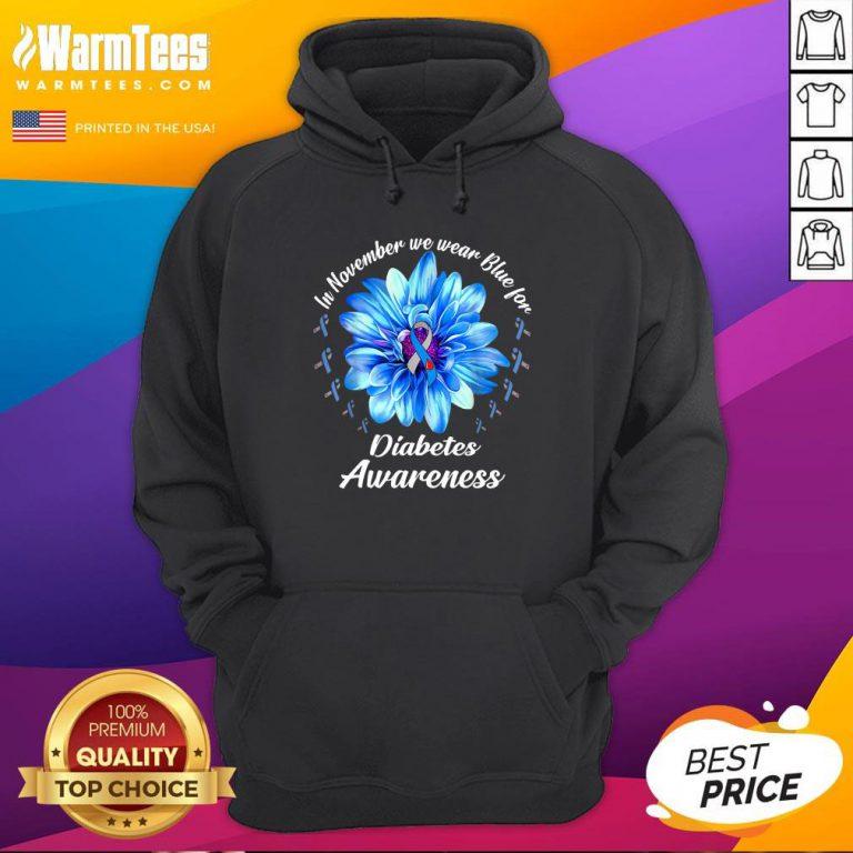 Pro In November We Wear Blue For Diabetes Awareness Daisy Flower Hoodie - Design By Warmtees.com