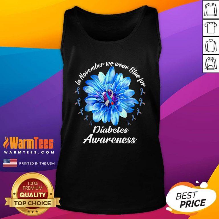 Pro In November We Wear Blue For Diabetes Awareness Daisy Flower Tank Top - Design By Warmtees.com