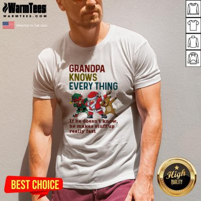Pro Santa Reindeer Dabbing Grandpa Knows Everything If He Doesn't Know He Makes Stuff Up Really Fast Christmas V-neck - Design By Warmtees.com