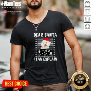 Supreme Bichon Dear Santa I Can Explain Christmas Sweater V-neck - Design By Warmtees.com