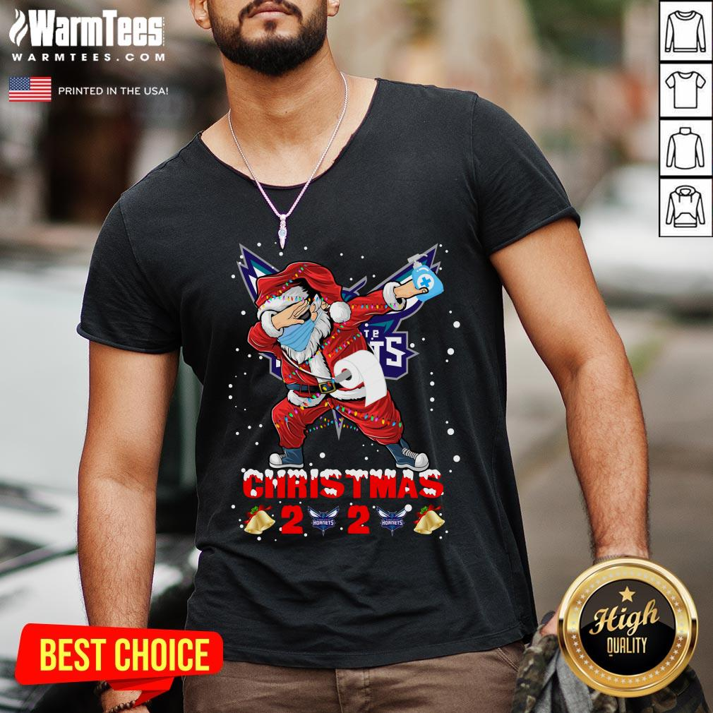 Top Charlotte Hornets Funny Santa Claus Dabbing Christmas 2020 V-neck - Design By Warmtees.com