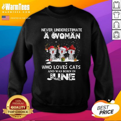 Top Never Underestimate A Woman Who Loves Cats Santa And Was Born In June Sweatshirt - Design By Warmtees.com