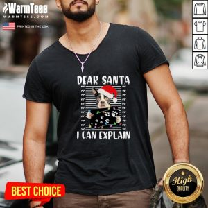 Wonderful Boston Terrier Dear Santa I Can Explain Christmas Sweater V-neck - Design By Warmtees.com