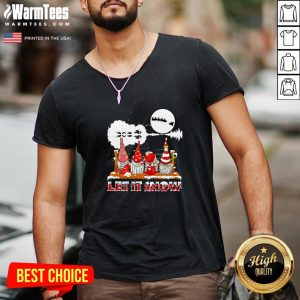 Wonderful Gnomies Let Is Snow Christmas V-neck - Design By Thelasttees.com