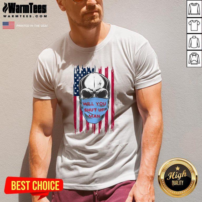 Wonderful Skull Joe Biden Will You Shut Up Man American Flag V-neck - Design By Warmtees.com