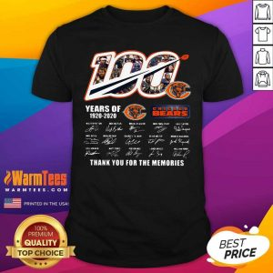 Chicago Bears 100 Years Of 1920 2020 Thank You For The Memories Signatures Shirt - Design By Warmtees.com